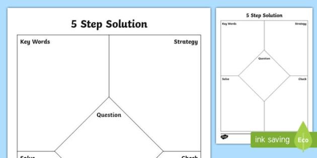 5 Step Solutions Math Graphic Organizer