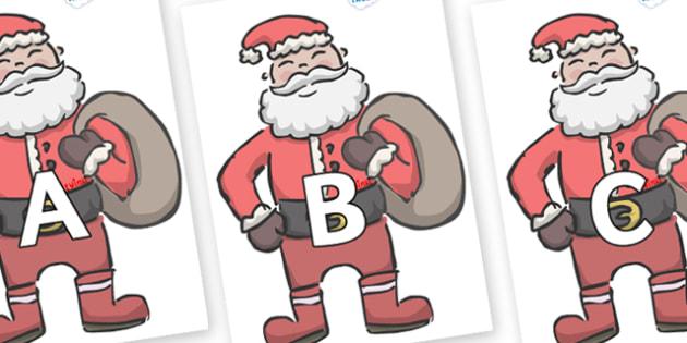 A-Z Alphabet on Santas - A-Z, A4, display, Alphabet frieze, Display letters, Letter posters, A-Z letters, Alphabet flashcards