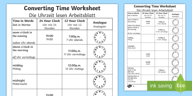 Converting Time Worksheet Activity Sheet English German