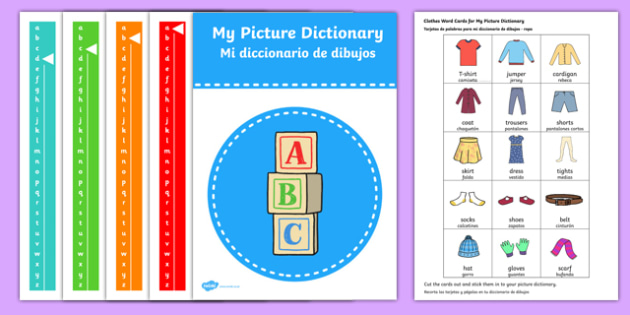 Picture Dictionary Clothes Word Cards Pack Spanish Translation-translation