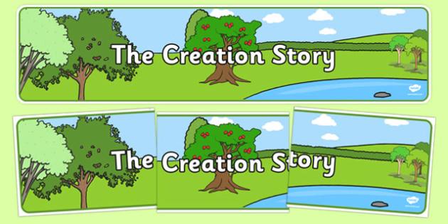 Adam and Eve Creation Story Display Banner - Adam, Eve, Eden, serpent, fruit, earth, garden, creation, creation story, display, banner, sign, poster, paradise, sea creatures, birds, stars, moon, sun, tree, evil, knowledge, animals, sky, night, day