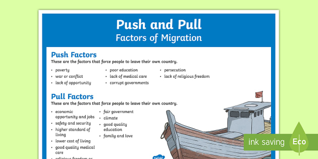 push and pull factors on immigrants Push factors are those associated with the area of origin, while pull factors are  those that are associated with the area of destination motives for migration are.