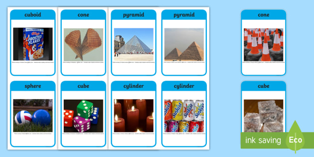 3D Shapes Real Life Objects Word Cards - 3D, shapes, 3D shapes, real life shapes, real life objects, shape cards, word cards, object cards, 3D shape cards, card