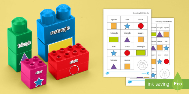 Simple 2D Shape Names Matching Connecting Bricks Game - Pre-Early