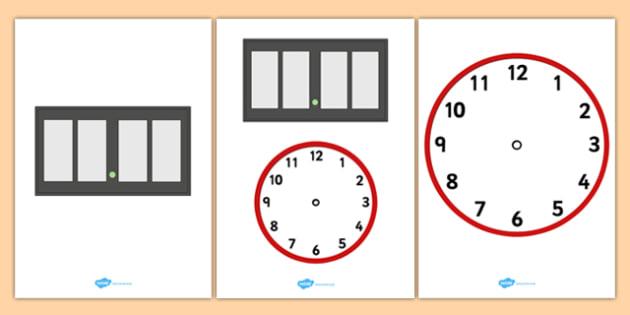 Blank Analogue and Digital Clock - blank, analogue, digital, clock, display