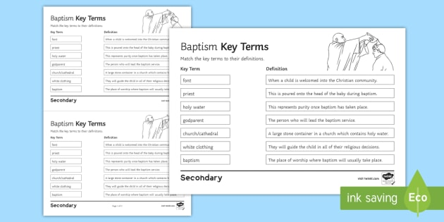 Baptism: Key Terms Worksheet / Activity Sheet - Infant Baptism