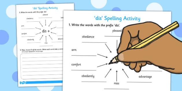 dis' Spelling Activity - activities, spell, spellings, games
