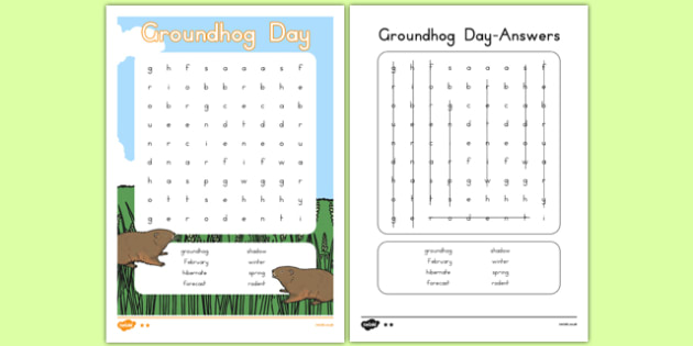 Groundhog Day Word Search - groundhog day, groundhog, tradition, celebration, word search