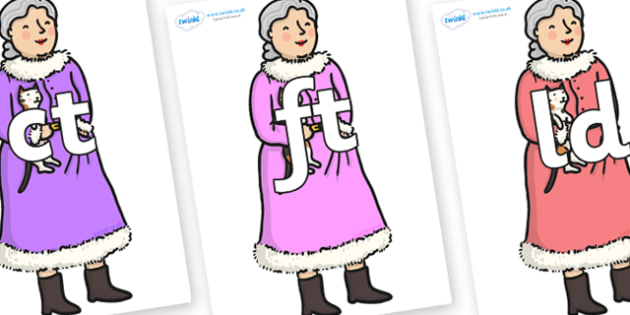 Final Letter Blends on Mrs Clause to Support Teaching on The Jolly Christmas Postman - Final Letters, final letter, letter blend, letter blends, consonant, consonants, digraph, trigraph, literacy, alphabet, letters, foundation stage literacy