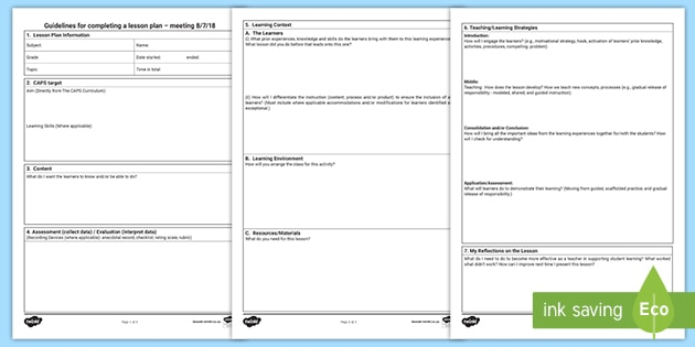 Free Caps Lesson Planning Template Teacher Made