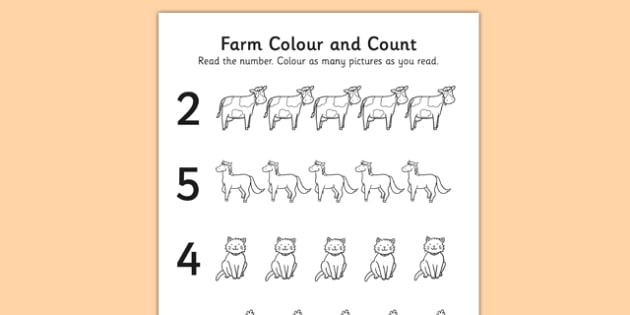 Farm Themed Count and Colour Sheet - colour, count, farm, sheet
