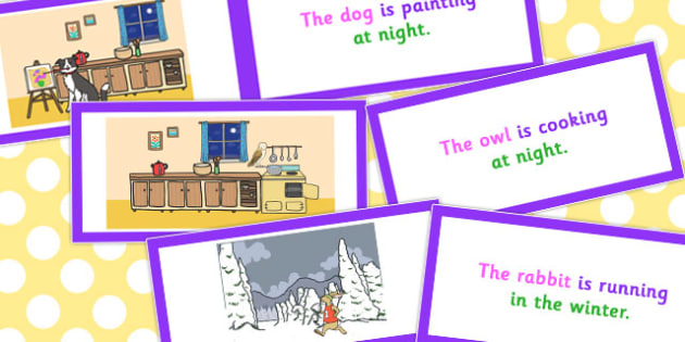 Picture Description Cards Unusual Sentences Who What Doing When