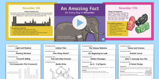 November Amazing Fact A Day PowerPoint and Activity Sheets Pack