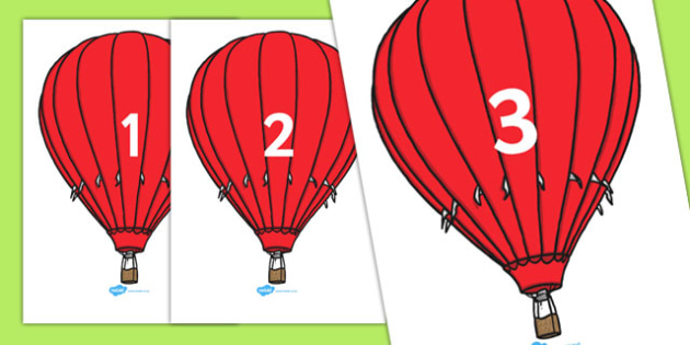 Numbers 0-20 on Hot Air Balloons (plain) - Foundation Numeracy, Number recognition, Number flashcards, Hot air balloons
