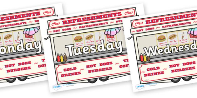 Days of the Week on Fairground Food Vans - Days of the Week, Weeks poster, week, display, poster, frieze, Days, Day, Monday, Tuesday, Wednesday, Thursday, Friday, Saturday, Sunday