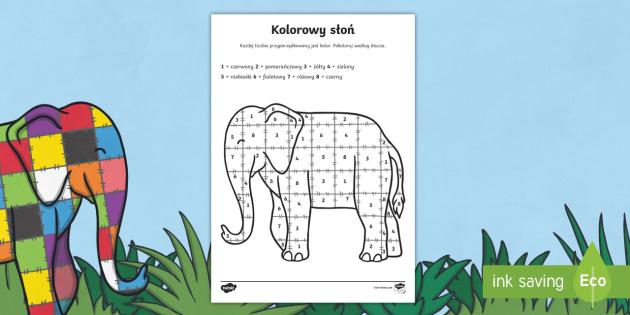 Kolorowanka z liczbami Słoń Elmer po polsku - bajki