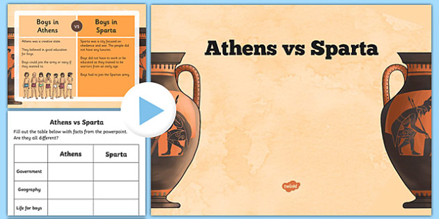 athens vs sparta 2 Exercise 2: after reading the information about sparta and athens, and looking at the chart above, tell students they should be prepared to tell in which city-state they would rather live.