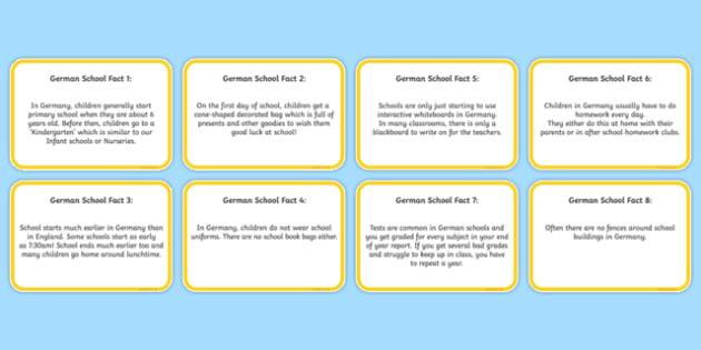 German Primary School Fact Cards