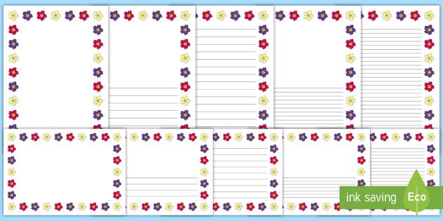 Spring Primrose Landscape Page Borders- Landscape Page Borders - Page border, border, writing template, writing aid, writing frame, a4 border, template, templates, landscape