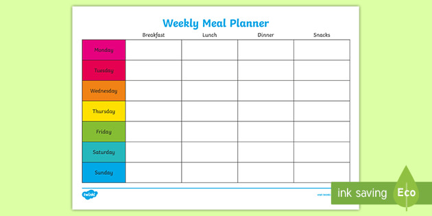 It is a photo of Free Printable Weekly Meal Planner with budget