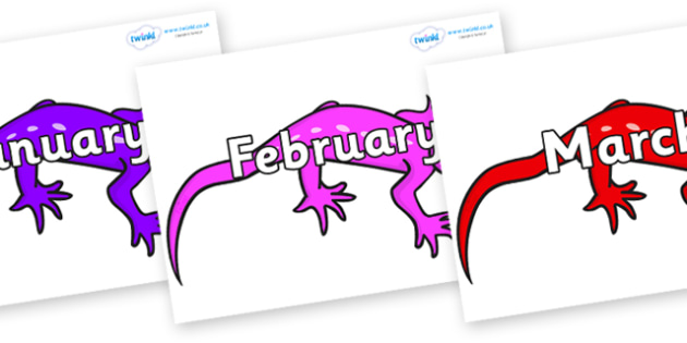 Months of the Year on Geckos - Months of the Year, Months poster, Months display, display, poster, frieze, Months, month, January, February, March, April, May, June, July, August, September