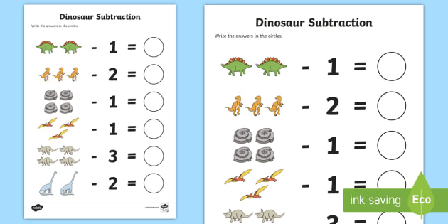 free dinosaur themed subtraction sheet subtract take away numeracy. Black Bedroom Furniture Sets. Home Design Ideas