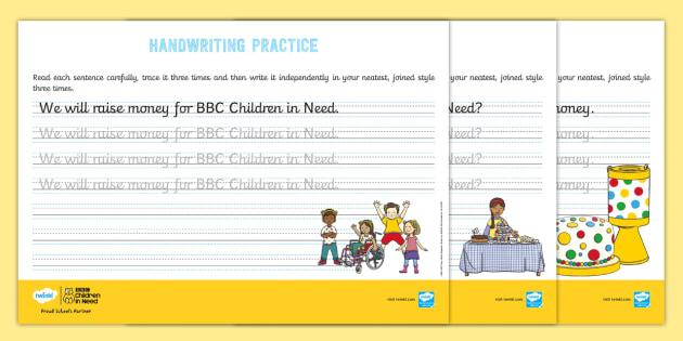 new ks1 bbc children in need cursive handwriting practice. Black Bedroom Furniture Sets. Home Design Ideas