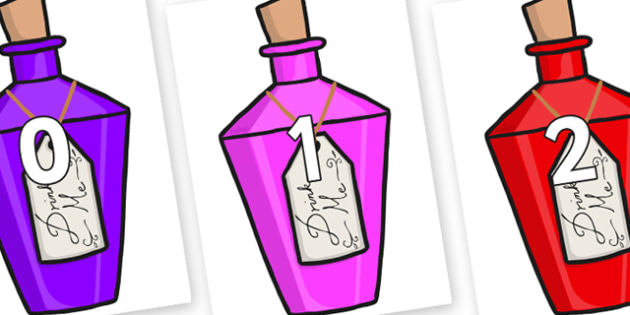 Numbers 0-50 on Drink Me Bottles - 0-50, foundation stage numeracy, Number recognition, Number flashcards, counting, number frieze, Display numbers, number posters
