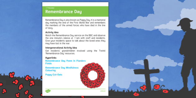 Elderly Care Planning November 2016 Remembrance Day - Elderly Care, Calendar Planning, Care Homes, Activity Co-ordinators, Support, November 2016