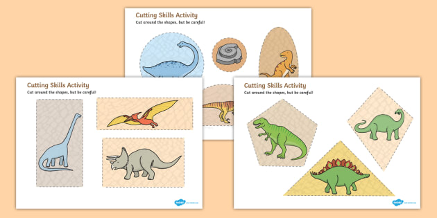 Dinosaur Themed Cutting Skills Worksheet Activity Sheets