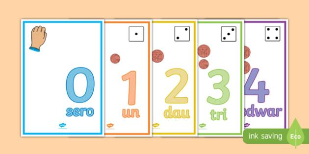 Visual Number Line 0-20 Dienes Display Poster Welsh -Welsh
