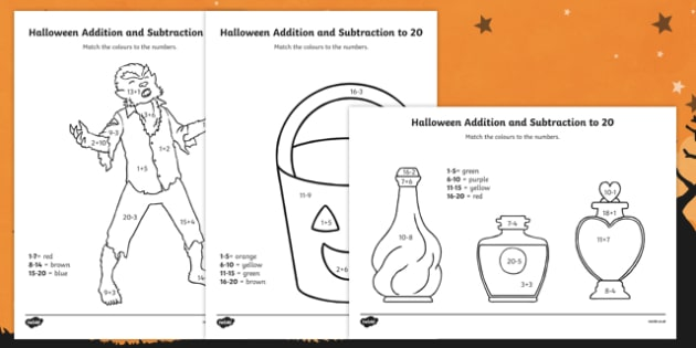 Halloween Addition and Subtraction to 20 Colour by Number