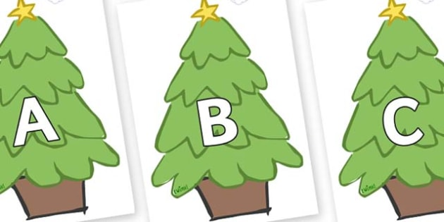 A-Z Alphabet on Christmas Trees (Plain) - A-Z, A4, display, Alphabet frieze, Display letters, Letter posters, A-Z letters, Alphabet flashcards