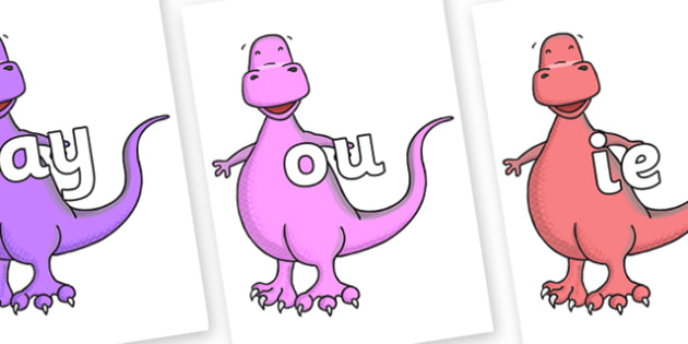 Phase 5 Phonemes on Tyrannosaurus - Phonemes, phoneme, Phase 5, Phase five, Foundation, Literacy, Letters and Sounds, DfES, display