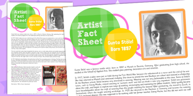 Artist Fact Sheet Gunta Stolzl - artist, fact sheet, gunta stolzl