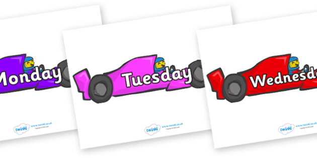 Days of the Week on Racing Cars - Days of the Week, Weeks poster, week, display, poster, frieze, Days, Day, Monday, Tuesday, Wednesday, Thursday, Friday, Saturday, Sunday
