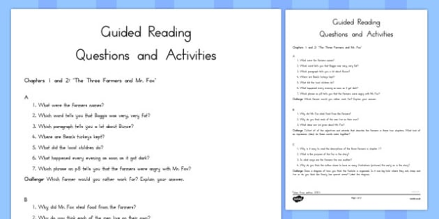 Guided Reading Questions Chapters 1 and 2 to Support Teaching on Fantastic Mr Fox - australia