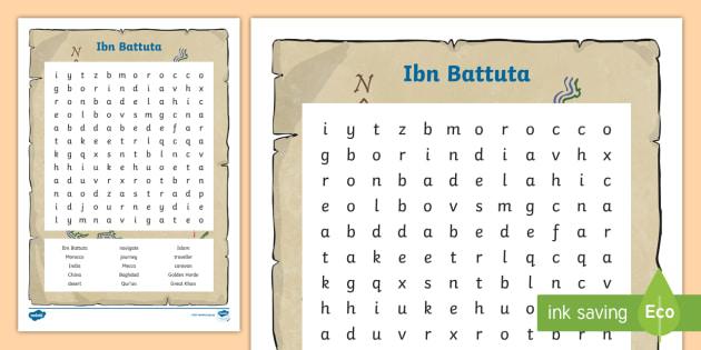 Qld Ibn Battuta Word Search
