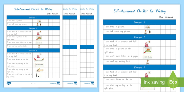 P levels writing assessment checklist