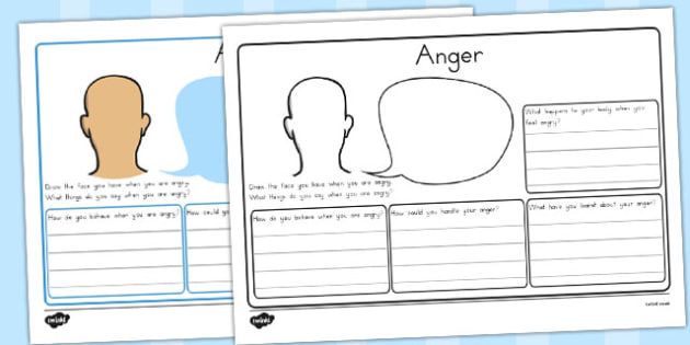 Anger Worksheet - angry, feeling, emotions, ourselves, calm