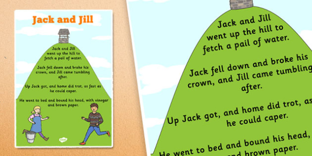 Jack and Jill Nursery Rhyme Poster - rhymes, display, songs