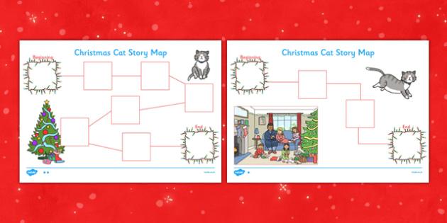 Christmas Cat Story Map Activity Sheet - mog, christmas cat, story map, activity, sheet, worksheet