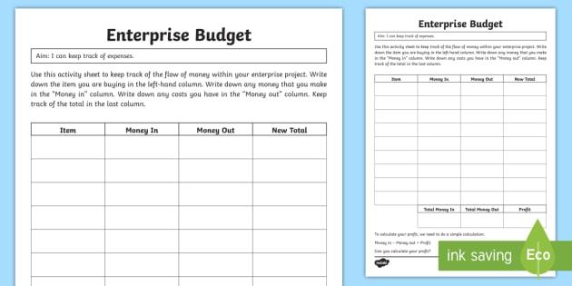 enterprise budget worksheet    activity sheet