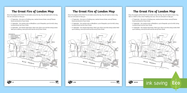 Lane Fire Map.New Ks2 The Great Fire Of London Map Differentiated Worksheets