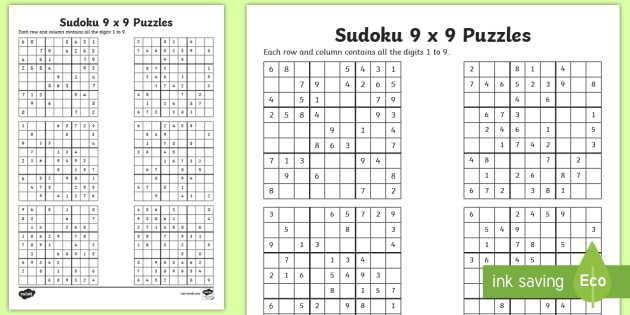 Sudoku 9 x 9 Worksheet / Worksheet - Number Puzzle, Game ...