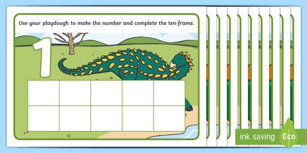 dinosaur ten frame number playdough mats early years eyfs