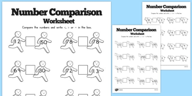 The Gingerbread Man Number Comparison Worksheet - australia, activity, maths, comparing, counting, KS1