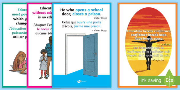 Educational Quotes Display Posters Englishfrench Educational