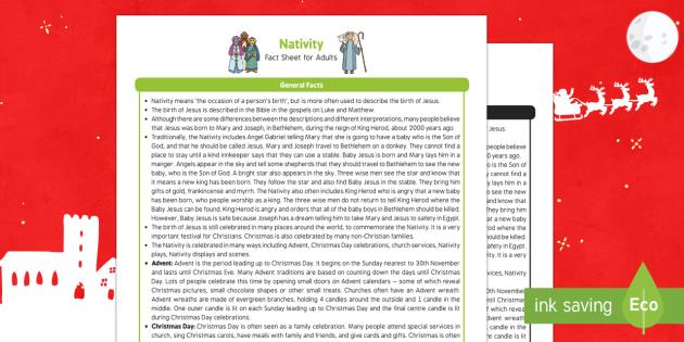 Nativity Fact Sheet for Adults - EYFS, Early Years, KS1, Key Stage 1, Christmas, Christianity, Jesus, Mary, Joseph, Bethlehem, Christmas story