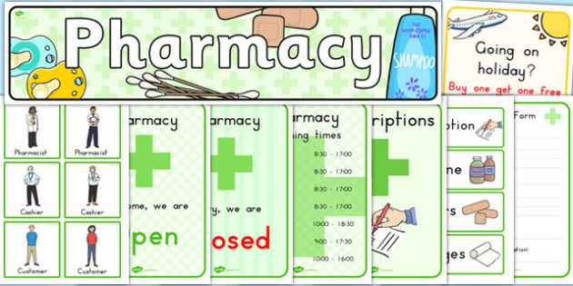 Pharmacy Role Play Pack - medicines, medicine, health, lifestyle